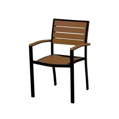 Euro Textured Black/Teak Patio Dining Arm Chair