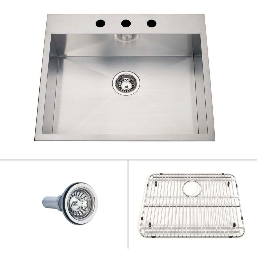 ECOSINKS Acero Ultra Prem. ComboDualmount Drop-in StainlessSteel 25x22x8 3-Hole Creased BottomSingleBowl KitchenSink-DISCONTINUED