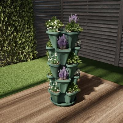 Hunter Green Plastic Vertical Stacking Planter Tower (5-Pack)