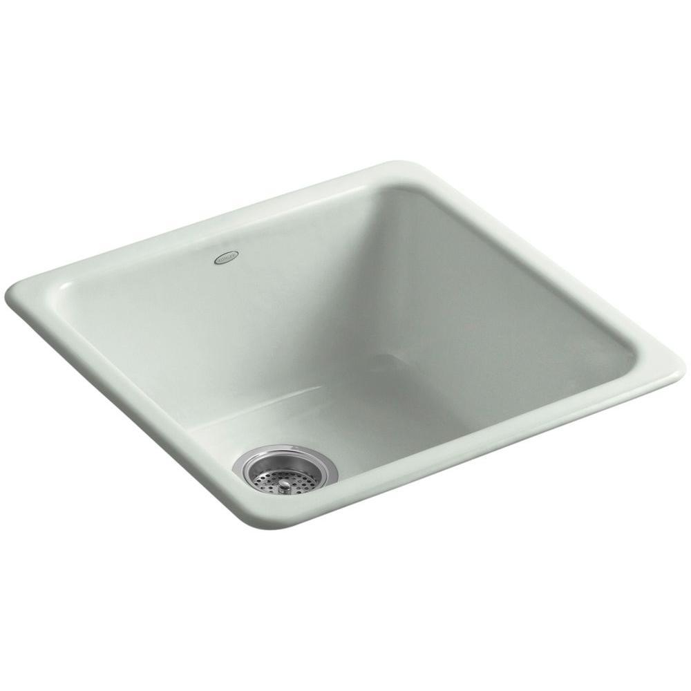 kohler iron tones drop in undermount cast iron 21 in single bowl kitchen sink in sea salt k. Black Bedroom Furniture Sets. Home Design Ideas