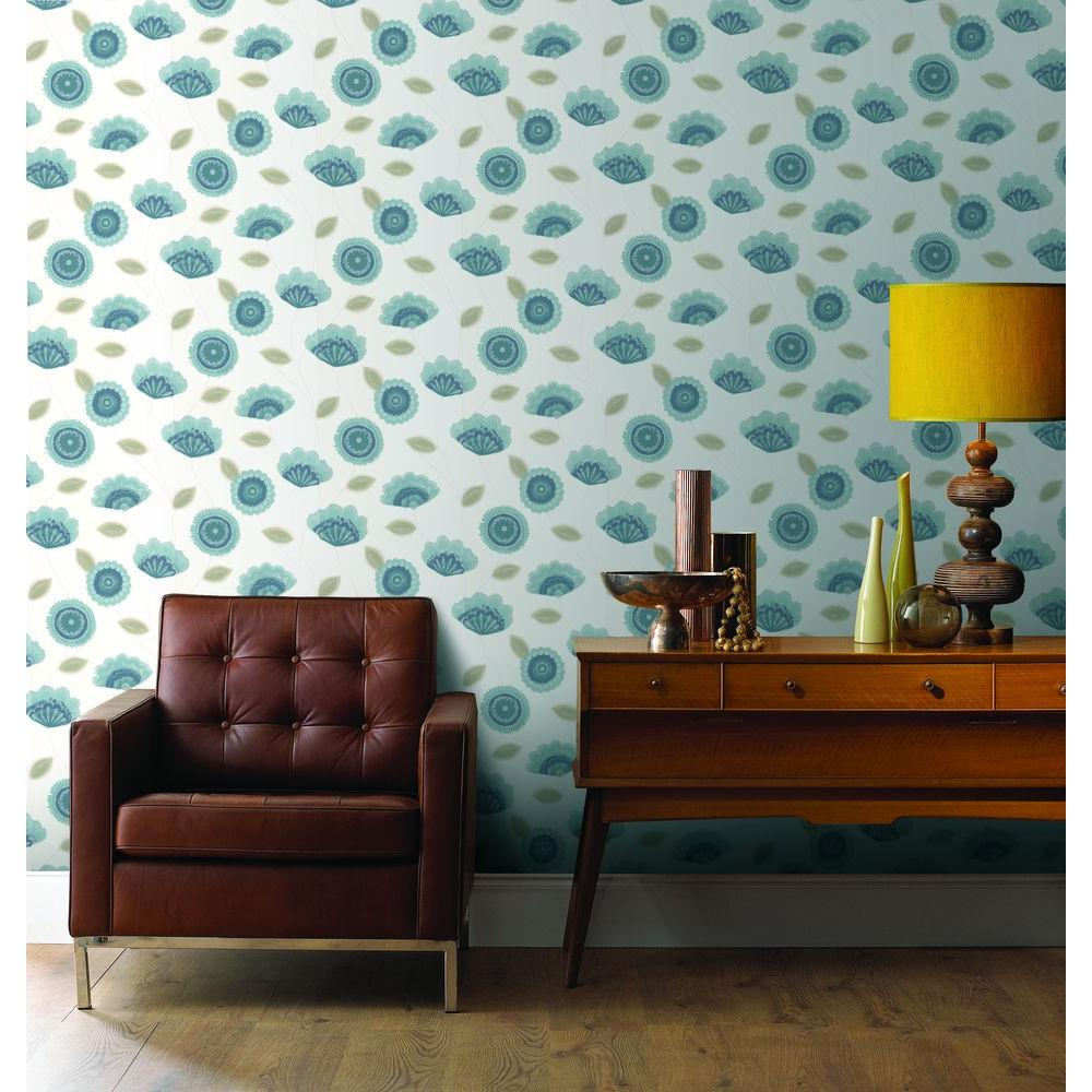 Graham & Brown 56 sq. ft. Romany Teal Wallpaper