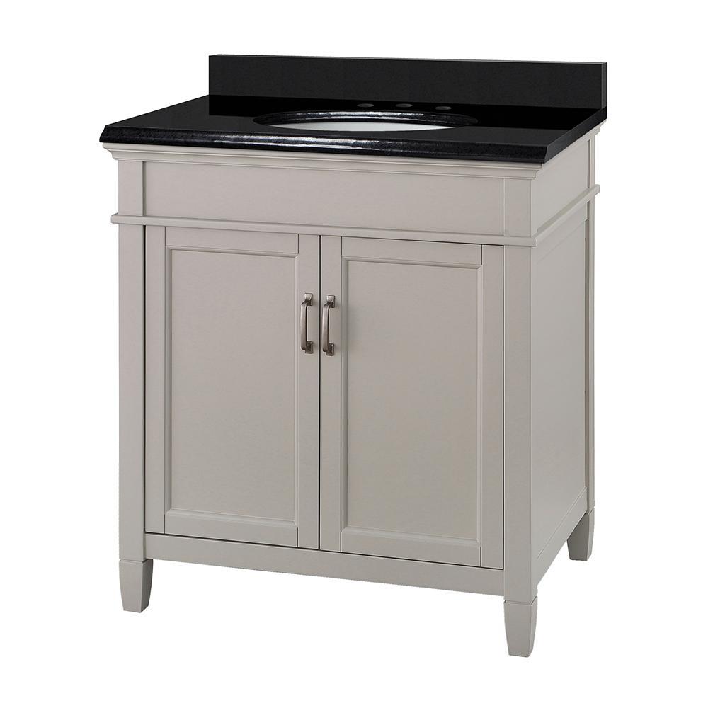 Ashburn 31 in. W x 22 in. D Bath Vanity in Grey with Granite Vanity Top in Midnight Black with Oval White Basin