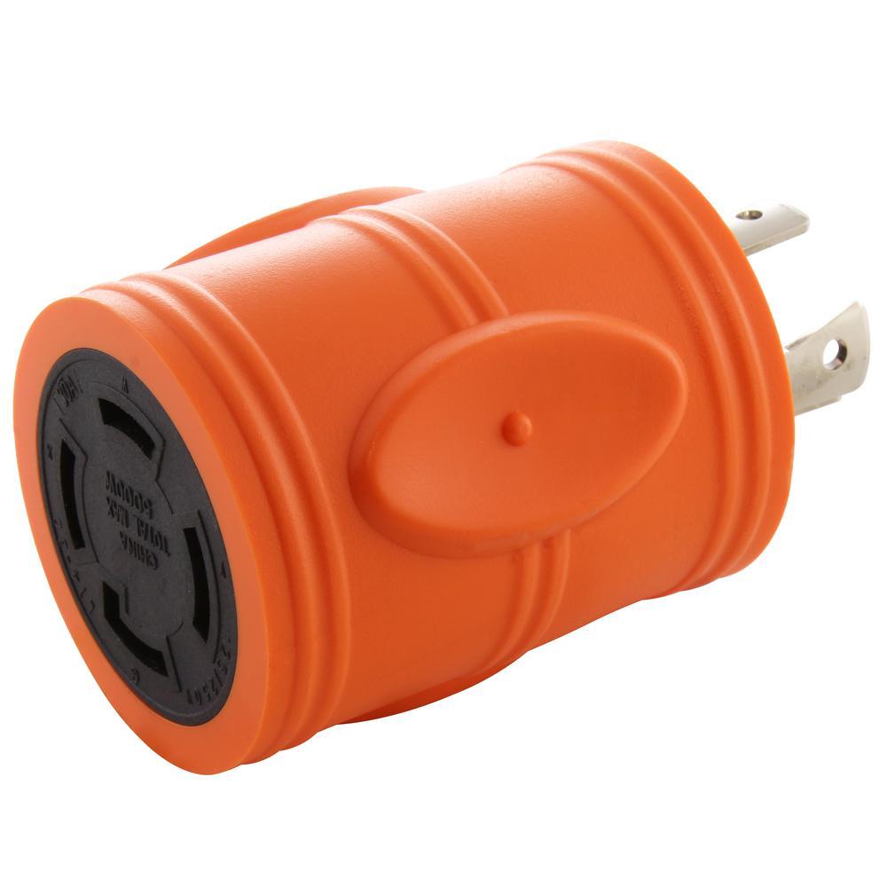 Locking Adapter 20 Amp 4-Prong L14-20P Locking Plug To L14-30R 30 Amp 4-Prong Locking Female Connector
