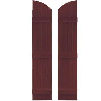 14 in. x 69 in. Board-N-Batten Shutters Pair, 4 Boards Joined with Arch Top #167 Bordeaux