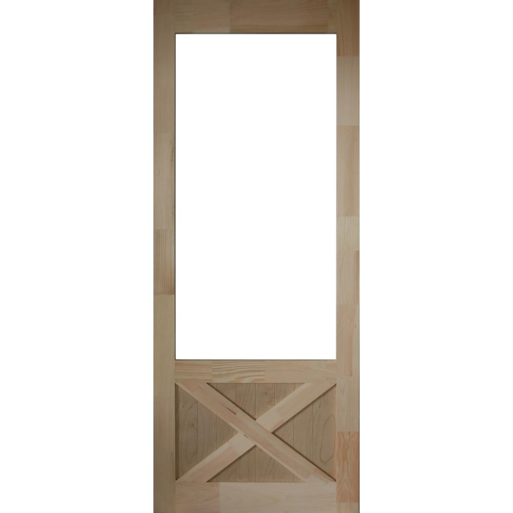 32 In. X 84 In. Thompson Natural Pine Screen Door