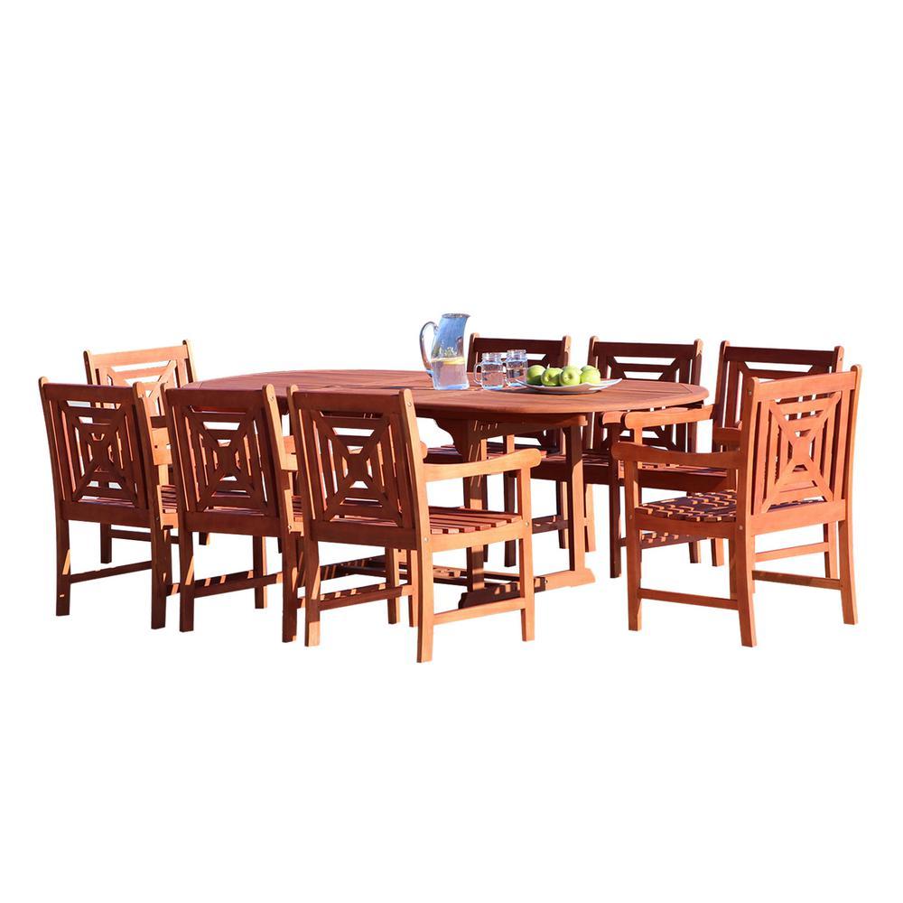 Vifah Malibu 9 Piece Wood Oval Outdoor Dining Set