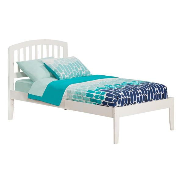 Atlantic Furniture Richmond White Twin Platform Bed with Open Foot Board