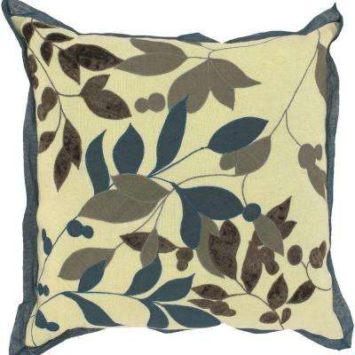 LeavesB1 18 in. x 18 in. Decorative Down Pillow