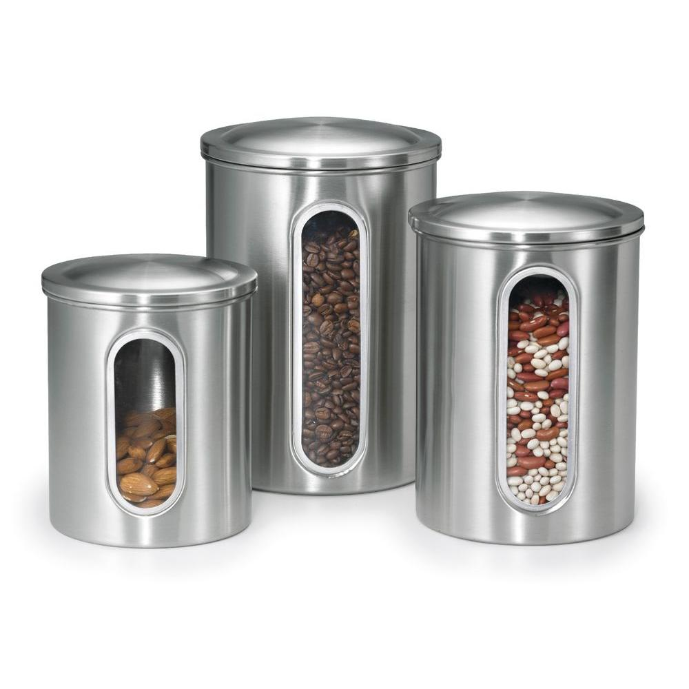 Polder Stainless Steel Canister Set 3 Piece 3346 75RM The Home Depot