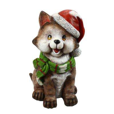 21 in. Cat wearing Santa Hat and Green Scarf Decor with 3 LED Lights