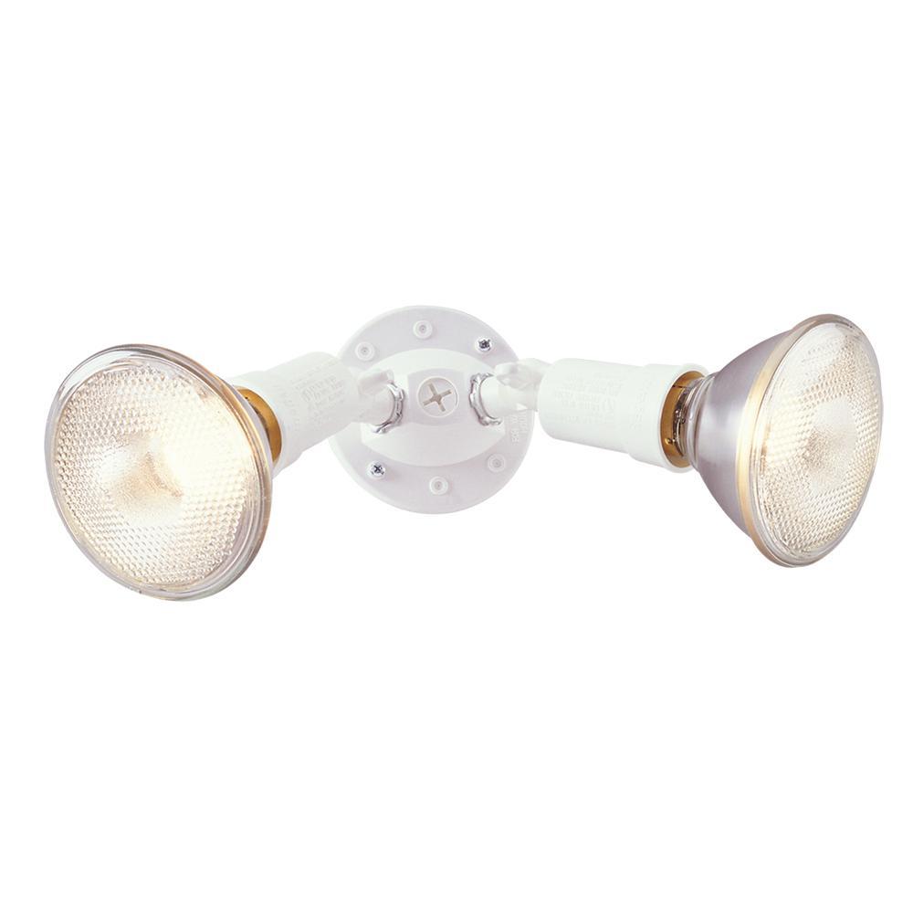 300-Watt White Outdoor Twin-Head Security Flood Light