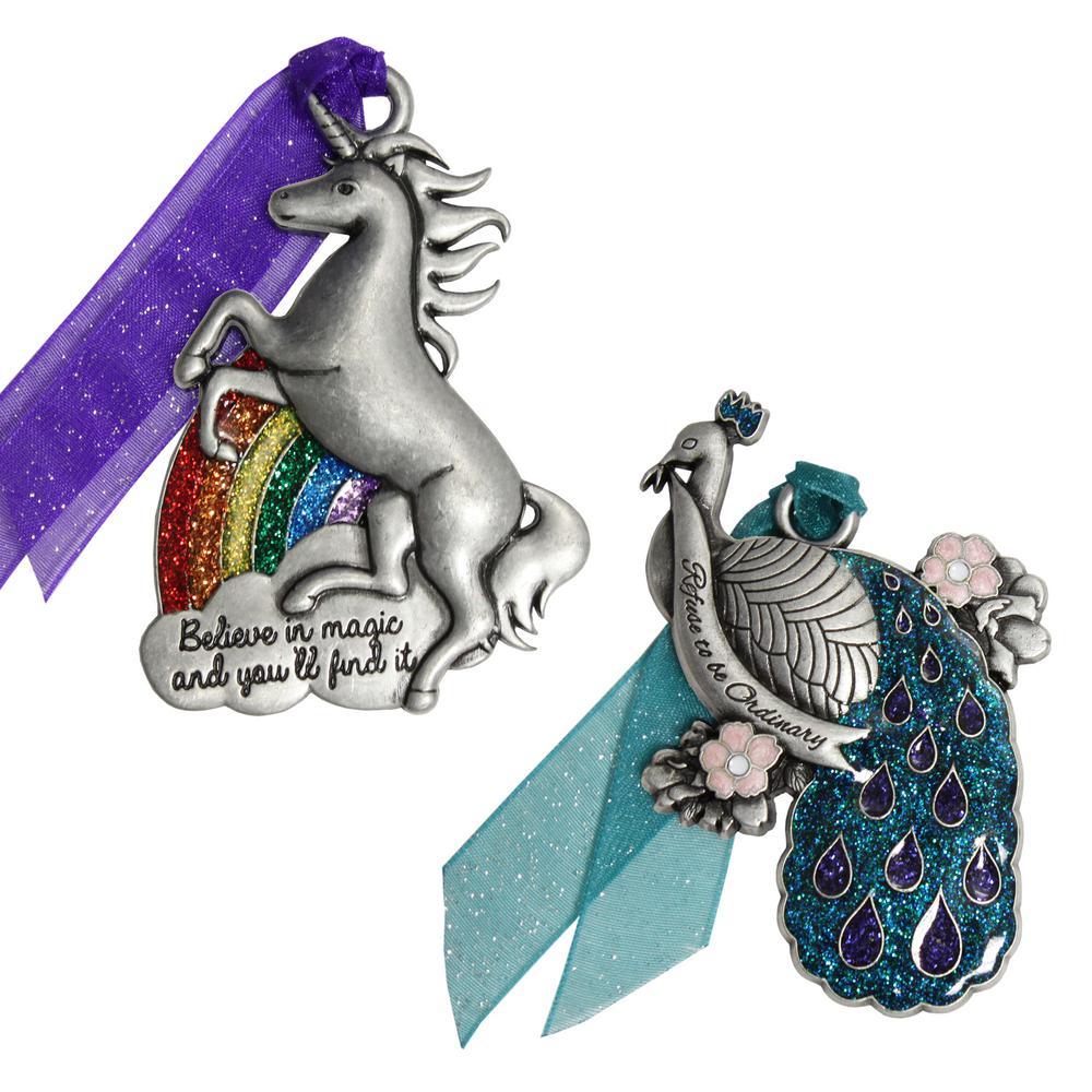 Believe in Magic Unicorn and Peacock Ornament Set