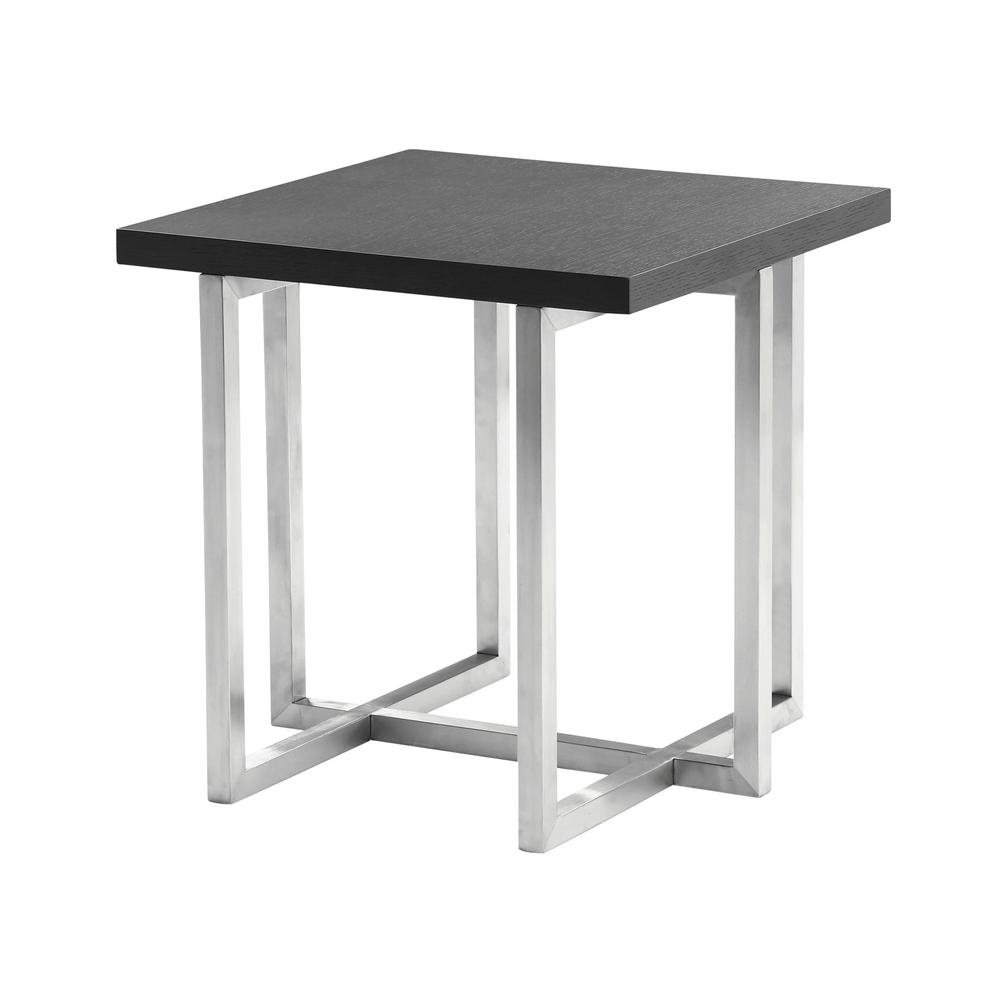 be14b38c145 Topaz Armen Living Grey Veneer Wood Top Contemporary End Table in Brushed  Stainless Steel Finish-LCTPLAGRBS - The Home Depot