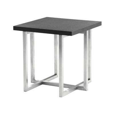 Armen Living Grey Veneer Wood Top Contemporary End Table in Brushed Stainless Steel Finish