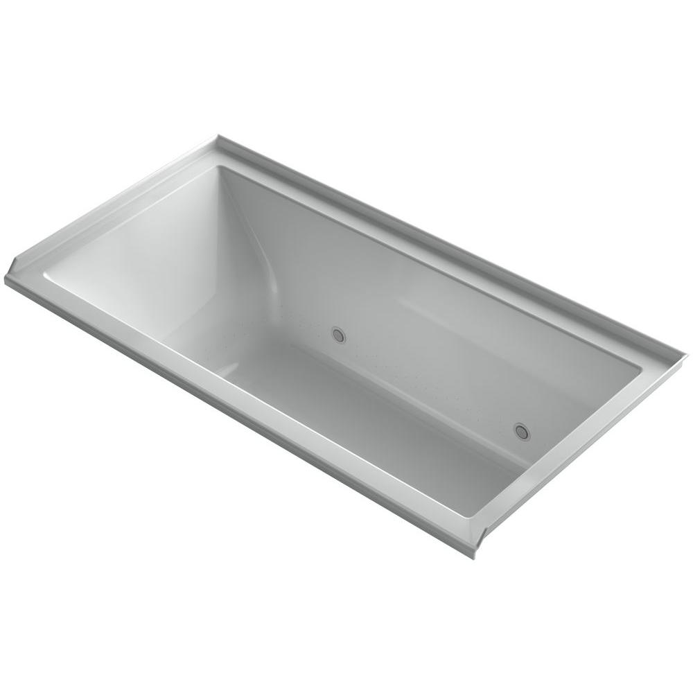 KOHLER Underscore 5 ft. Air Bath Tub with Right Drain in Ice Grey