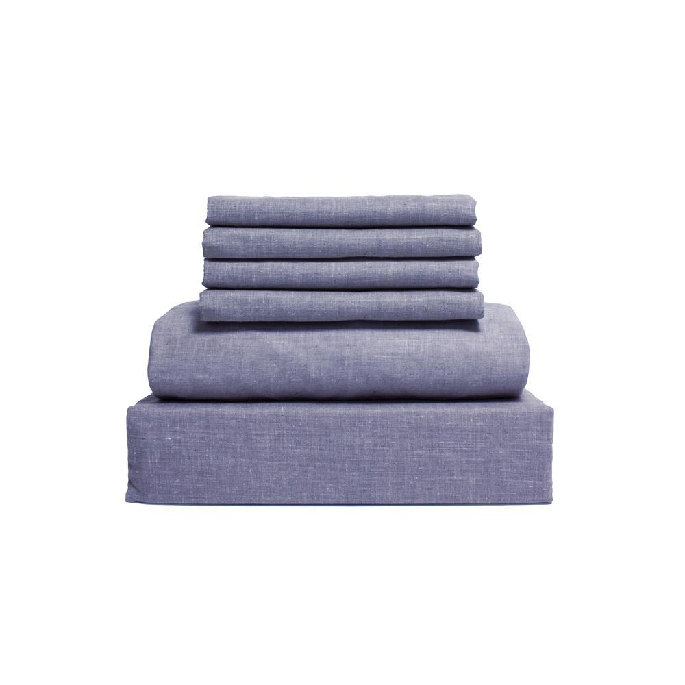 Chambray 6-Piece Denim Blue Cotton/Polyester Queen Sheet Set