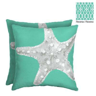 Starfish 16 in. Square Outdoor Throw Pillow (2-Pack)