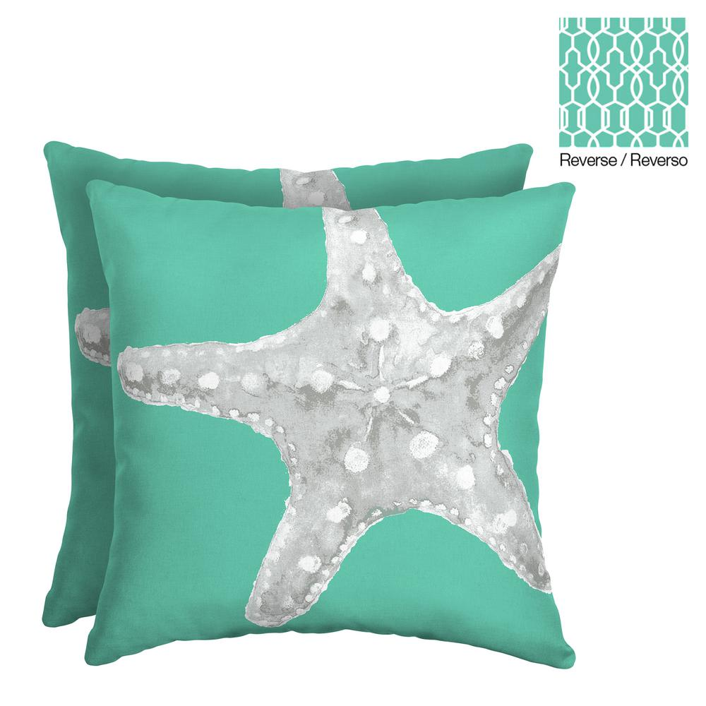 Hampton Bay Starfish 16 In Square Outdoor Throw Pillow 2 Pack