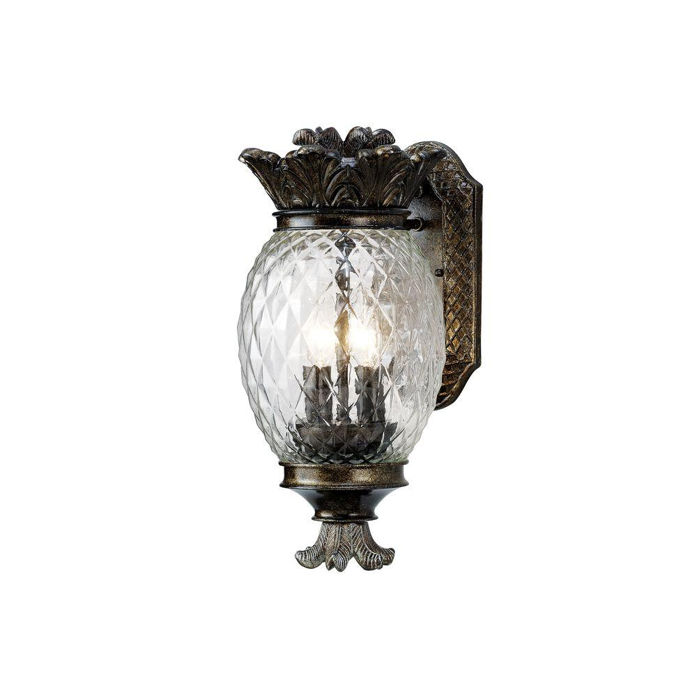 Monteaux lighting bronze outdoor pineapple coach light wall lantern sconce