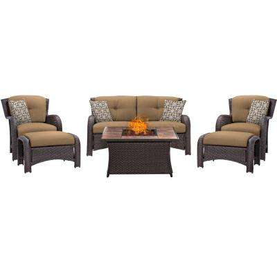 Strathmere 6-Piece Woven Patio Seating Set with Tile-Top Fire Pit and Country Cork Cushions