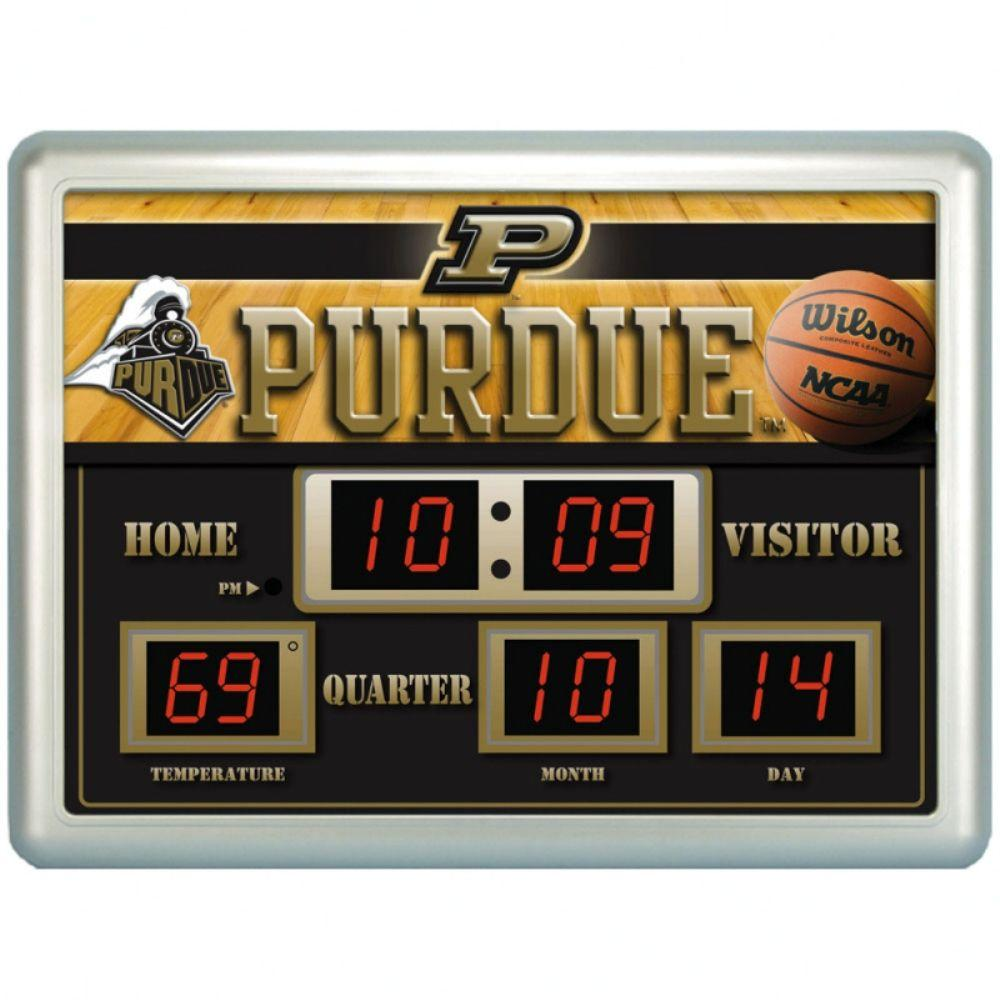 null Purdue University 14 in. x 19 in. Scoreboard Clock with Temperature