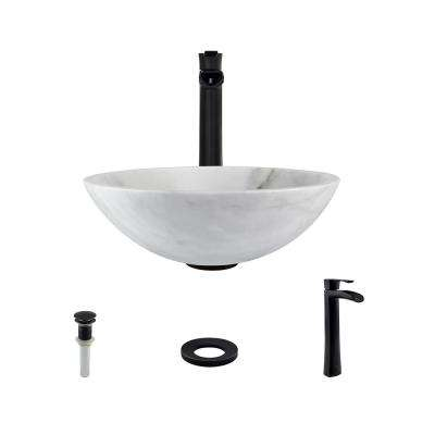 Stone Vessel Sink in Honed Basalt White Granite with 731 Faucet and Pop-Up Drain in Antique Bronze