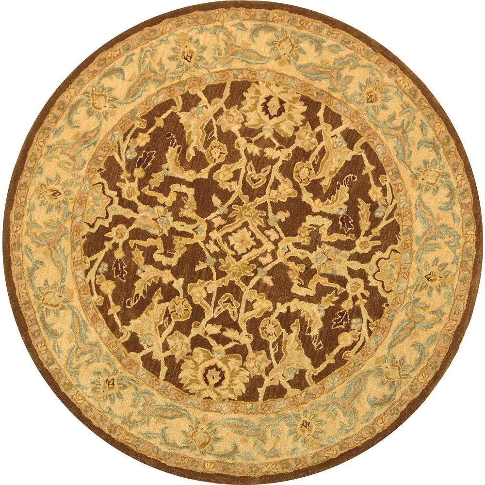 Anatolia Brown/Tan 4 ft. x 4 ft. Round Area Rug