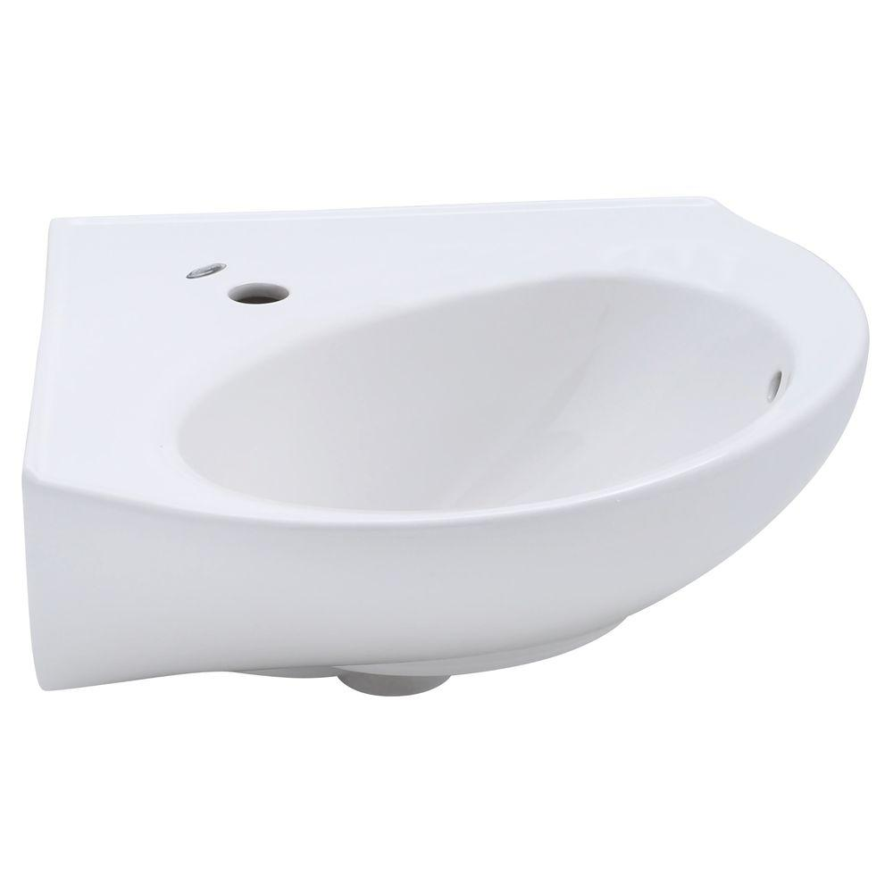 Cornice Corner Wall-Mount Bathroom Sink in White