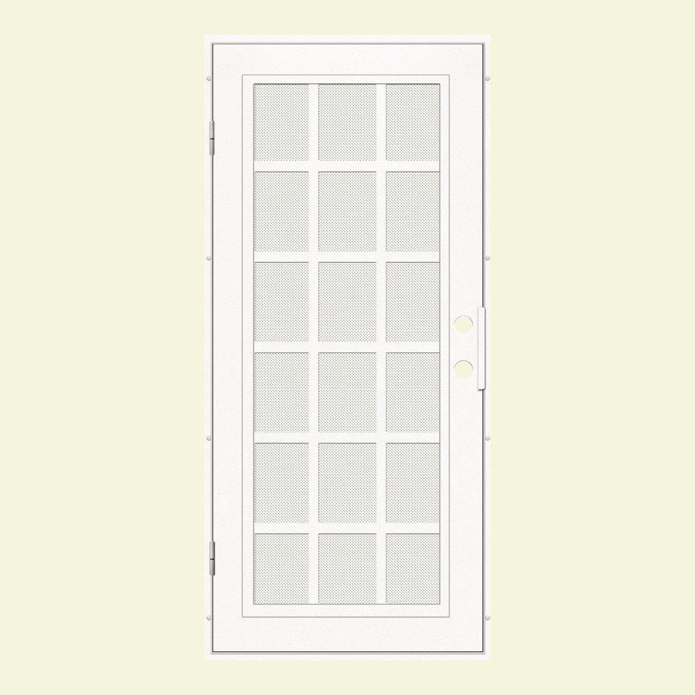 Unique Home Designs 36 in. x 80 in. Classic French White Left-Hand Surface Mount Aluminum Security Door with White Perforated Screen
