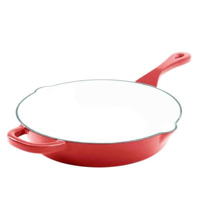 Artisan 8 in. Cast Iron Nonstick Skillet in Scarlet Red with Pour Spout