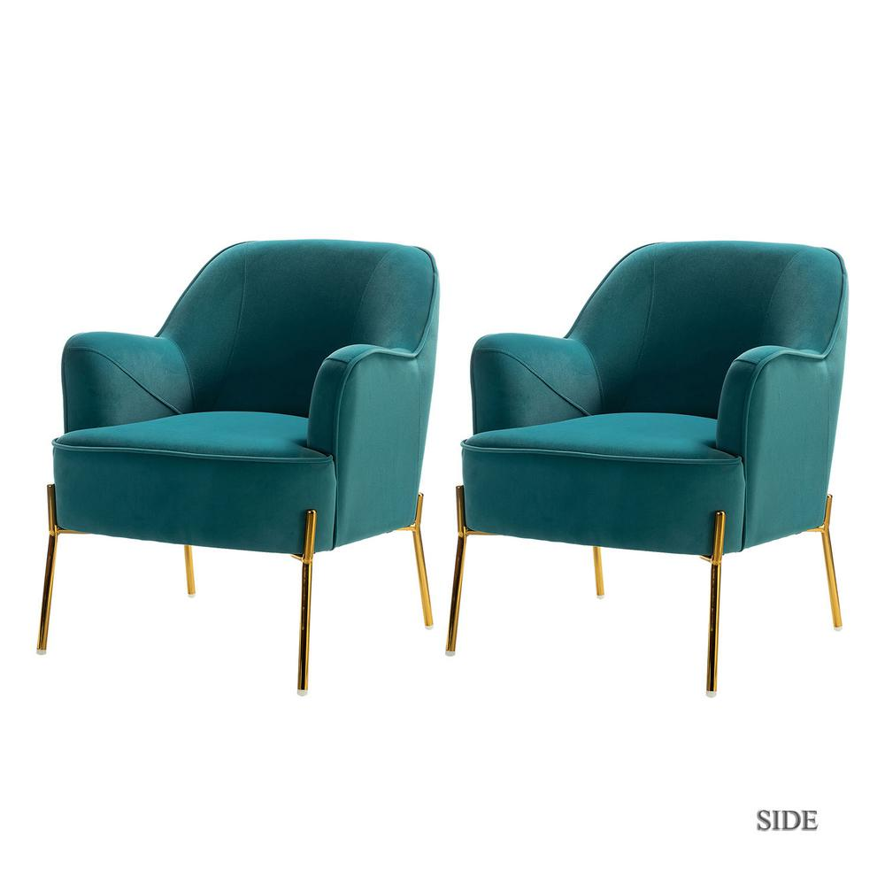 Nora Blue Gold Legs Accent Chair Set of 2