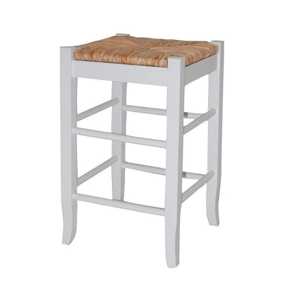 Flash Furniture 24 In Distressed White Bar Stool