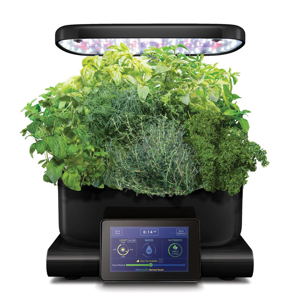 AeroGarden Harvest Touch Indoor Hydroponic Garden Kit in Black