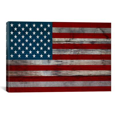 """USA Flag on Wood Boards (U.S. Constitution Background) I"" by Unknown Artist Canvas Wall Art"