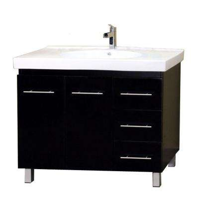 Midlands R 39 in. Single Vanity in Black with Porcelain Vanity Top in White
