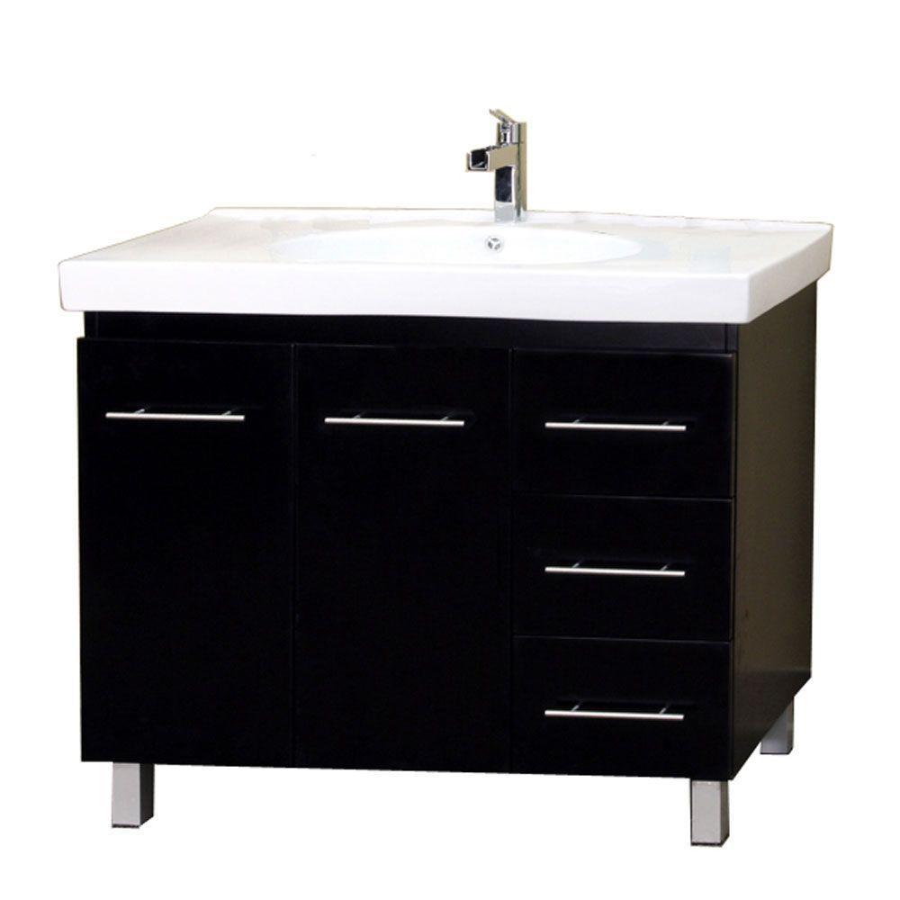 Midlands R 39 in. Single Vanity in Black with Porcelain Vanity