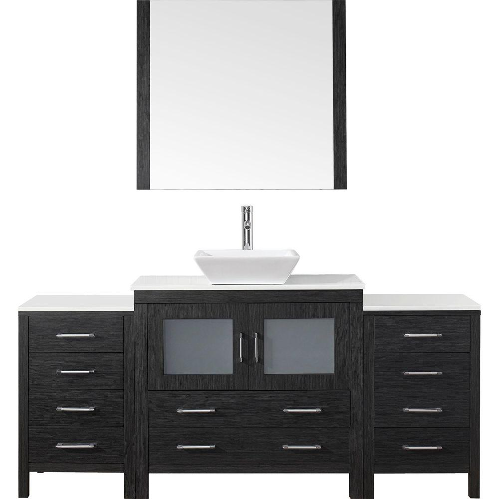 Virtu USA Dior 73 in. W Bath Vanity in Zebra Gray with Stone Vanity Top in White with Square Basin and Mirror and Faucet