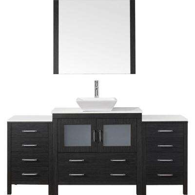 Dior 73 in. W Bath Vanity in Zebra Gray with Stone Vanity Top in White with Square Basin and Mirror and Faucet