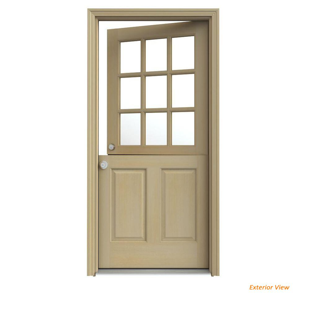 JELD-WEN 30 in. x 80 in. 9 Lite Unfinished Wood Prehung Right-Hand Inswing Dutch Front Door with AuraLast Jamb and Brickmold