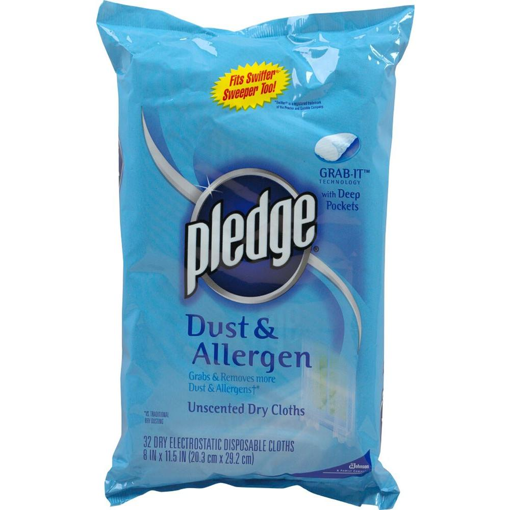 Pledge Dust and Allergen Unscented Dry Cloth Wipes 32-Cloths (6-Pack)