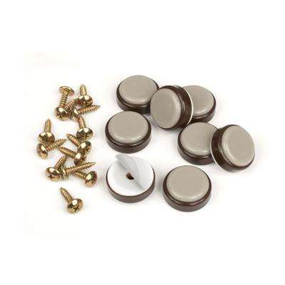 1 in. Round Chocolate Brown Self Stick or Screw On Floor Protector Chair Glides/Slider Feet (Set of 8)