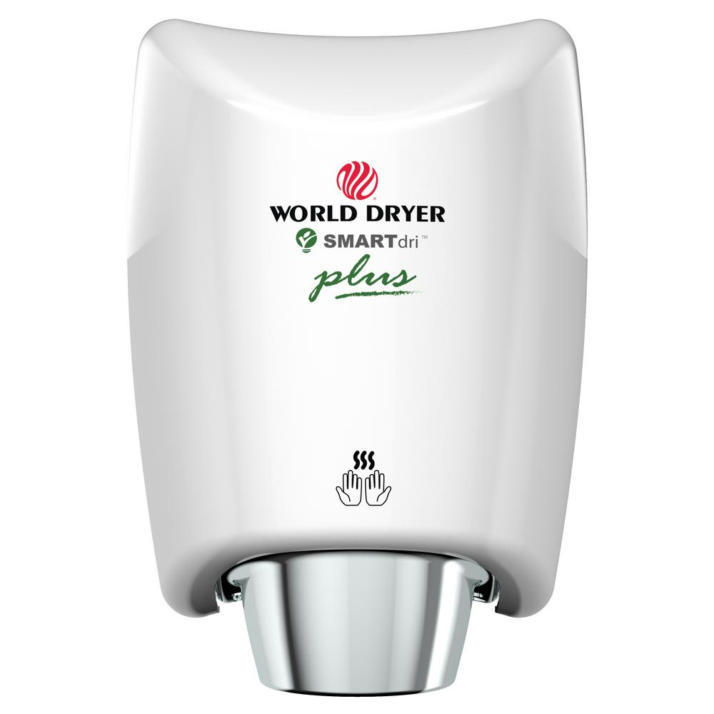 WORLD DRYER SMARTdri Plus High Efficiency Intelligent Automatic Electric Hand Dryer with Aluminum White Cover WORLD DRYER SMARTdri Plus High Efficiency Intelligent Automatic Electric Hand Dryer with Aluminum White Cover
