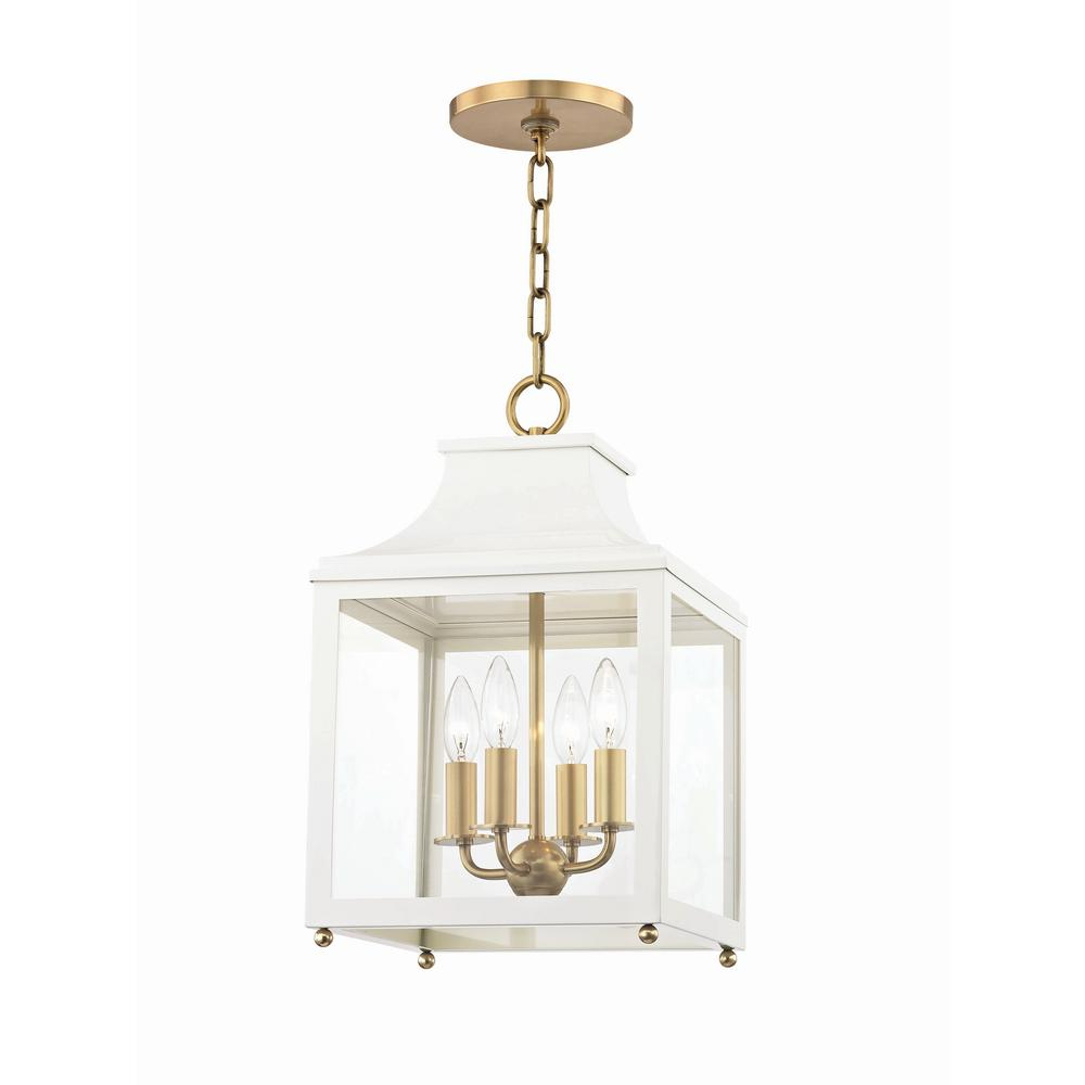 Mitzi By Hudson Valley Lighting Leigh 4 Light 11 5 In W Aged Br White Pendant With Clear Gl Panel