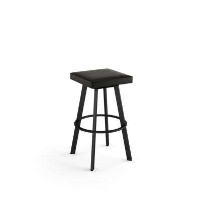 Sinclair 30 in. Black Faux Leather Black Metal Swivel Bar Stool