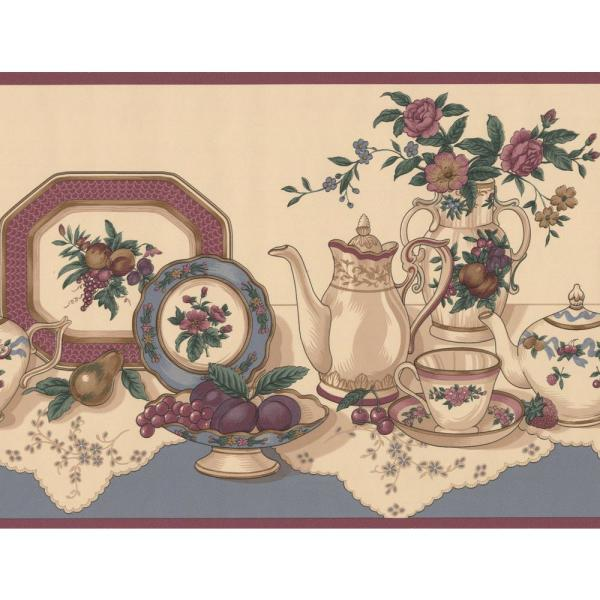Retro Art Table With Tea Party Set Fruits Kitchen Beige Wide Prepasted Wallpaper Border Cs8331b The Home Depot