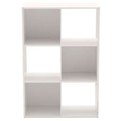 36 in. x 24 in. White Stackable 6-Cube Organizer