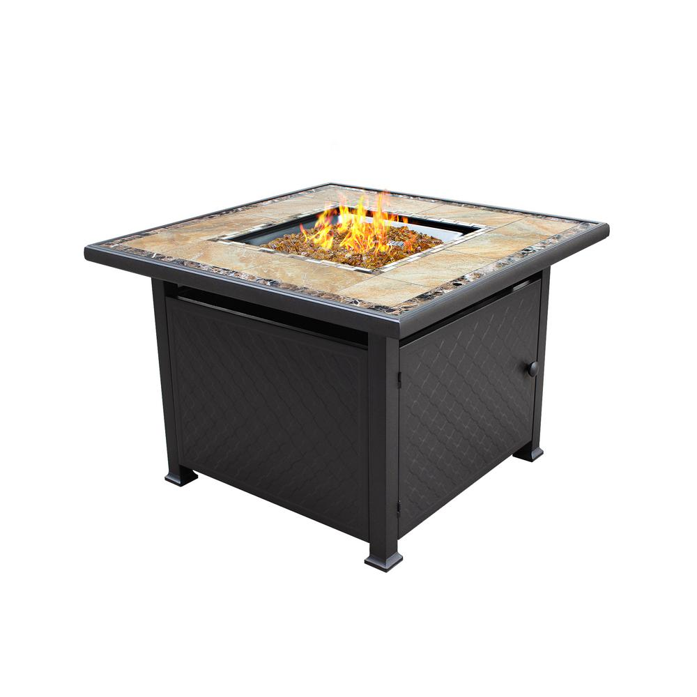 40 in. x 25 in. Square Marble Tile Top Propane Fire