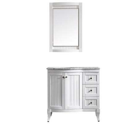 Verona 36 in. W x 23 in. D x 35 in. H Vanity in White with Marble Vanity Top in White with Basin and Mirror