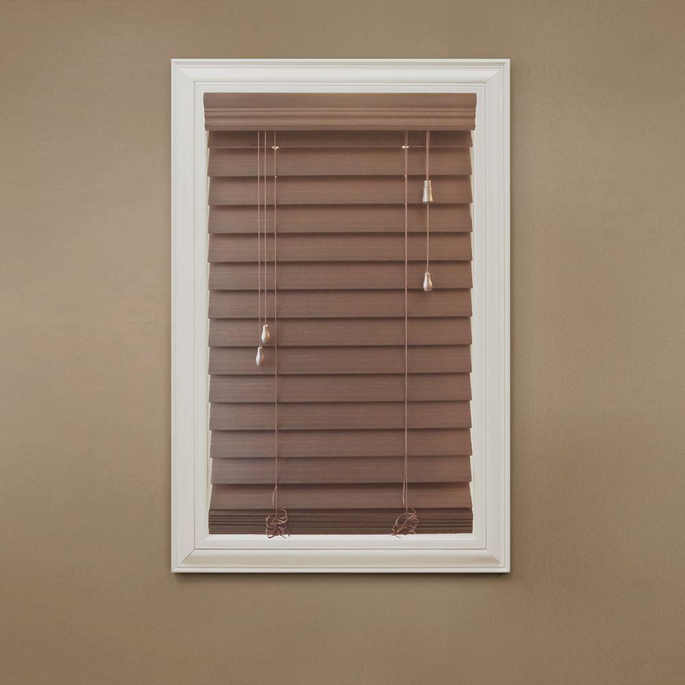 Home Decorators Collection Maple 2-1/2 in. Premium Faux Wood Blind - 14 in. W x 64 in. L (Actual Size 13.5 in. x W 64 in. L)