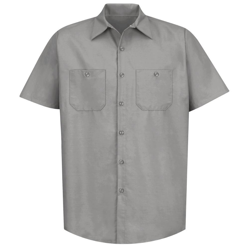 Men's Size 5XL (Tall) Light Grey Industrial Work Shirt